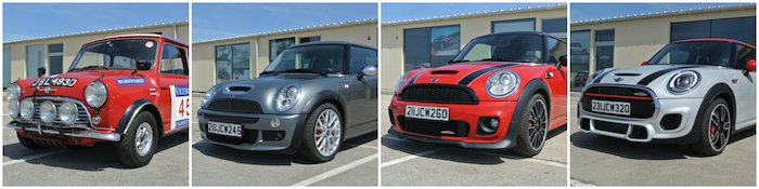 Vier generaties MINI John Cooper Works