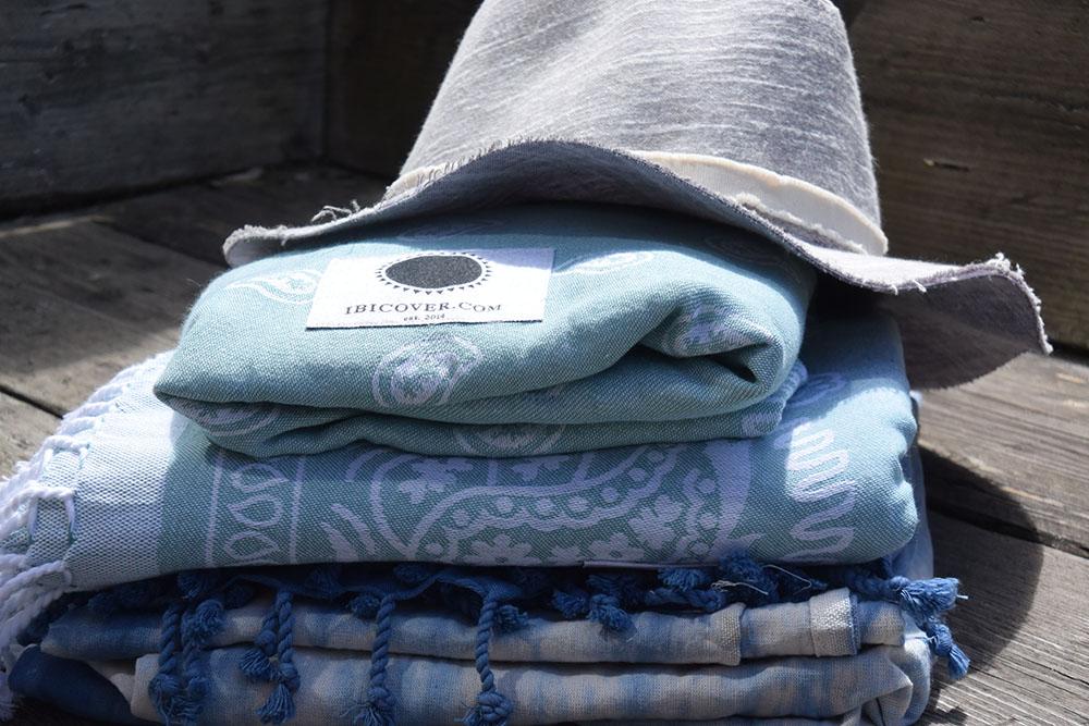Ibicover hamamdoek blauw en grijs