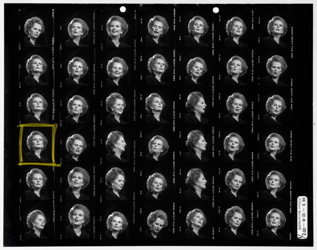 G.B. ENGLAND. Brighton. Conservative Party Conference. The Conservative Prime Minister Margaret Thatcher. Original contact sheet by Peter Marlow. 1981.