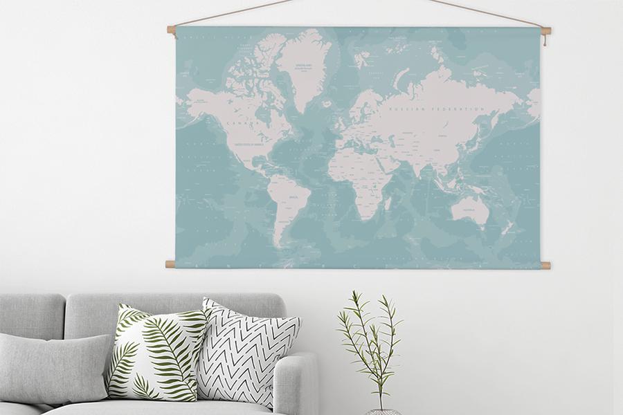 Woonkamer Met Wereldkaart : Interieur trend wereldkaarten aan je muur lifestyle